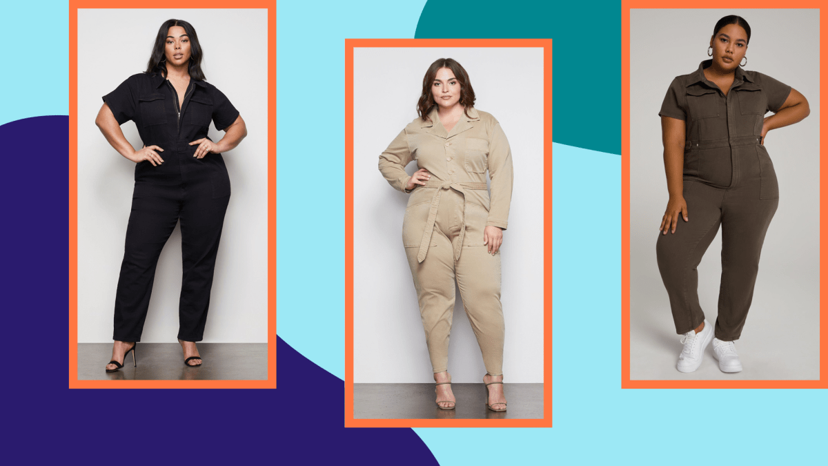 Three plus-size models wearing utility jumpsuits on a graphic background.