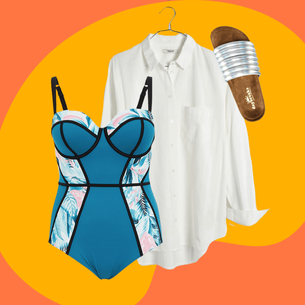 A collage of a teal one-piece swimsuit, white button down shirt, and silver slide sandals.
