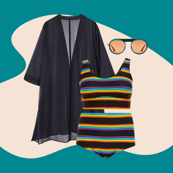 A collage of a black sheer swim cover-up, a rainbow striped bikini, and black round sunglasses.