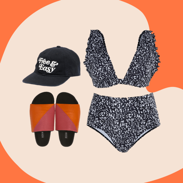 """A collage of a baseball hat that says """"Free and Easy,"""" pink and orange slide sandals, and a black and white dalmation print bikini."""