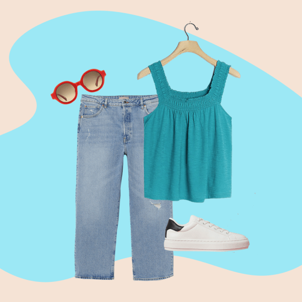 light jeans, teal tank top, red sunglasses, white sneakers