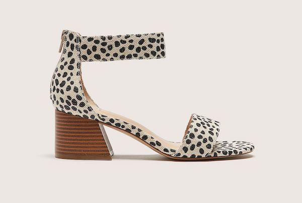 A dotted ankle strap heel.
