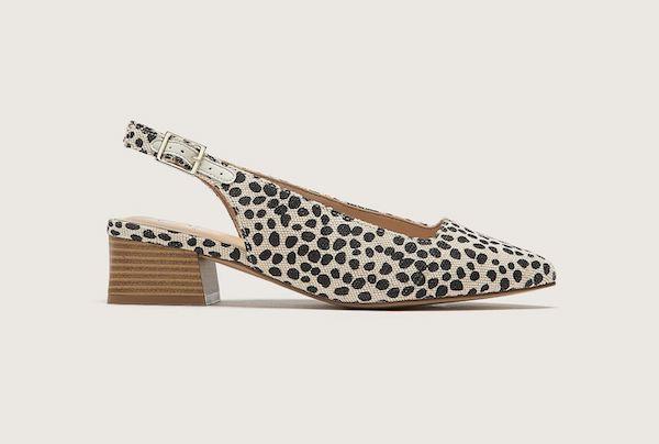 A dotted slingback heel.