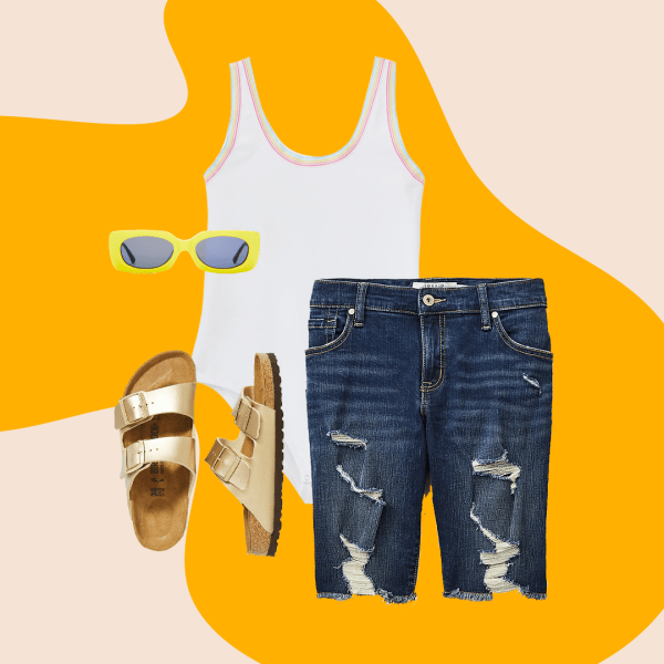 A collage with a white bodysuit, ripped denim Bermuda shorts, gold slide sandals, and green sunglasses.