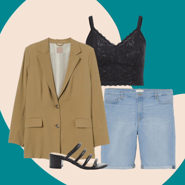 A collage with a brown blazer, black bralette, light denim Bermuda shorts, and black heels.