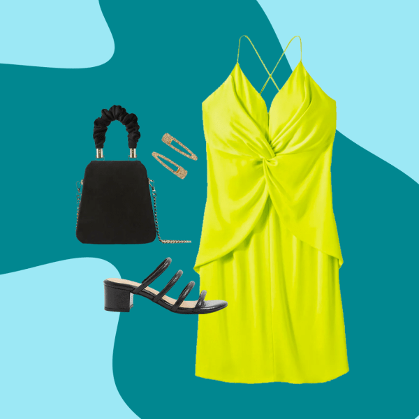 A collage of a neon green dress, black top handle bag, black strappy heels, and gold rings.