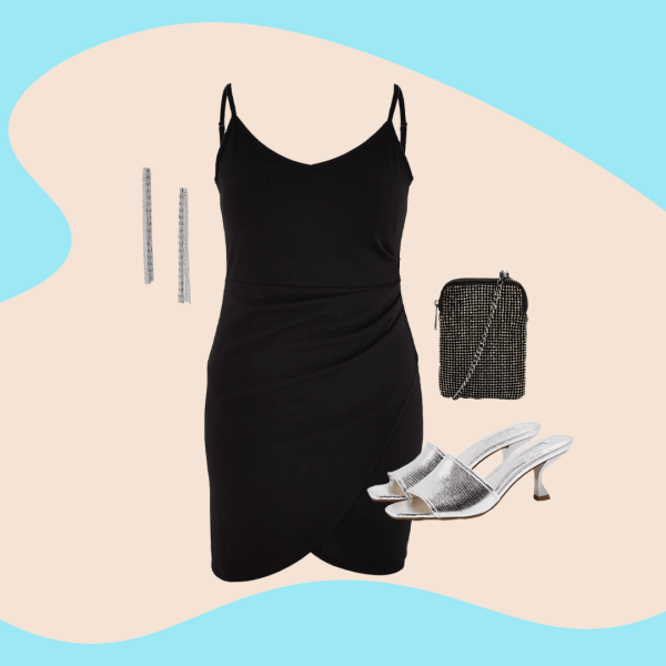 A collage of a black mini dress, silver dangly earrings, silver heeled mules, and a black bag.