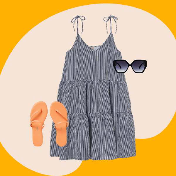 A collage with a black and white mini dress, pink sandals, and black sunglasses.