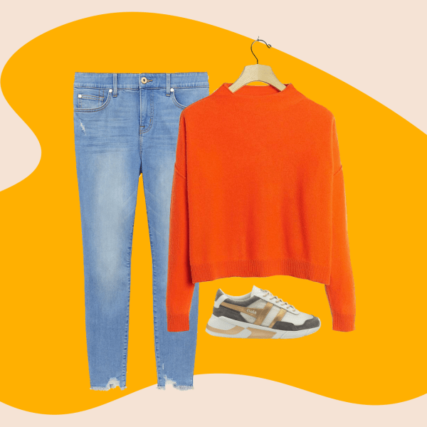 A collage with light wash jeans, a red sweater, and gold and gray sneakers.