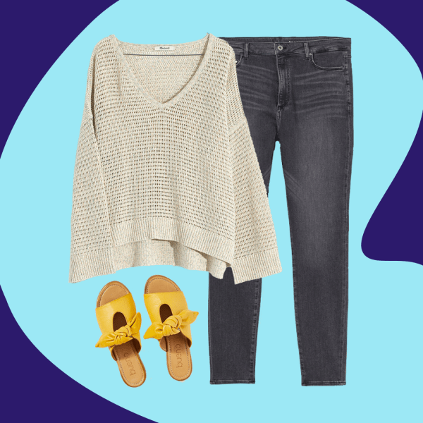A collage with a cream sweater, gray jeans, and yellow sandals.