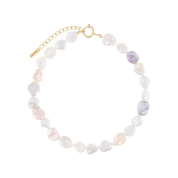 Choker crafted from flat-sided lavender pearls.