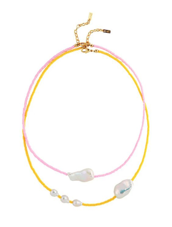 A layered necklace crafted from small yellow beads, small pink beads, and large pearls.