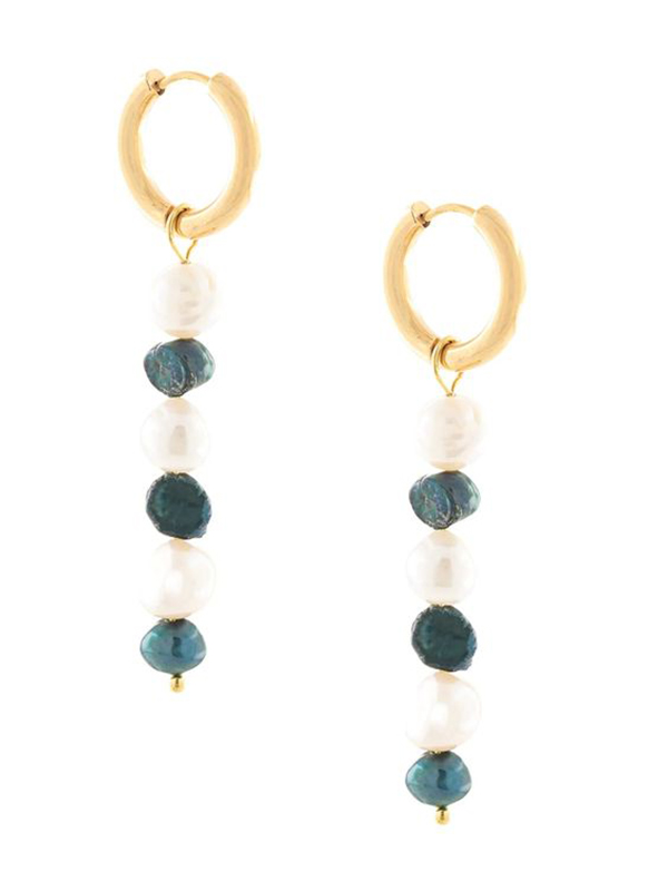 Gold hoop earrings with strings of white and charcoal pearls dangling from them.