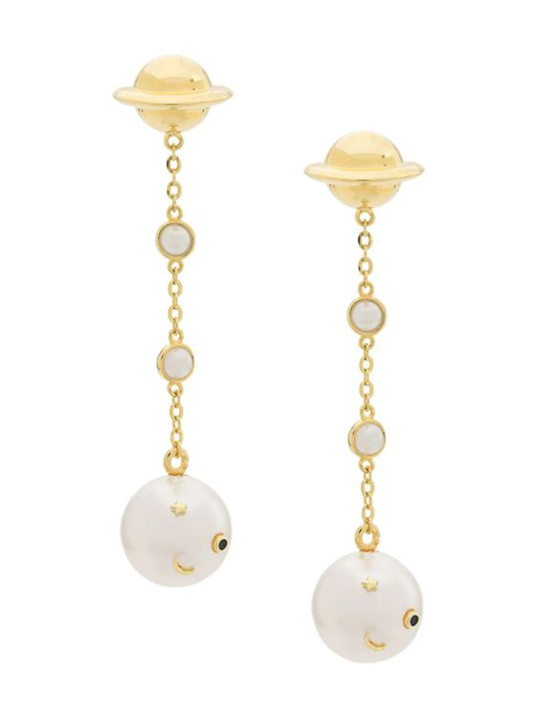 A pair of drop earrings that look like planets with pearls dangling from them.