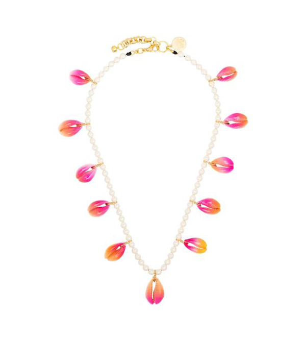 A pearl necklace with hot pink shells on it.