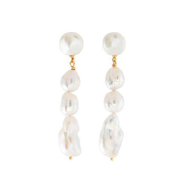 A set of pearl drop earrings.