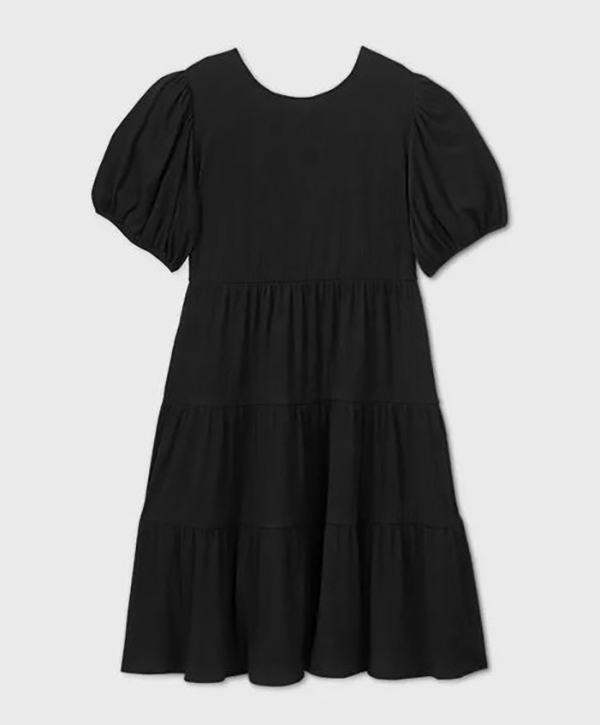A plus-size black babydoll dress.