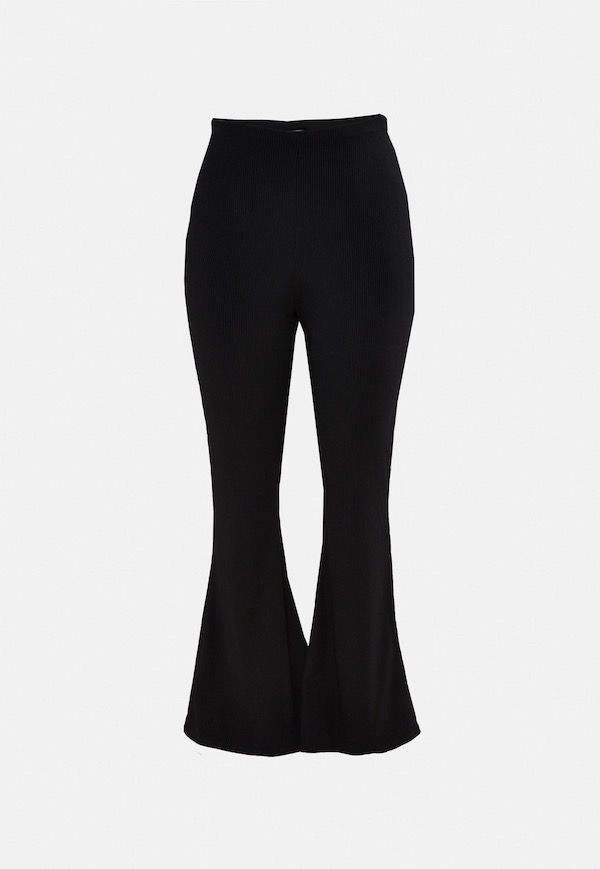 A pair of black flare pants.