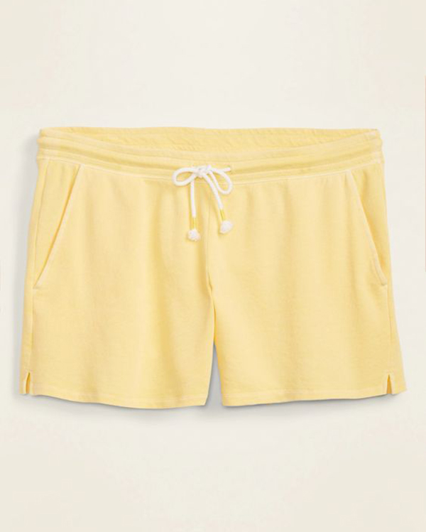 A pair of yellow plus-size sweat shorts.