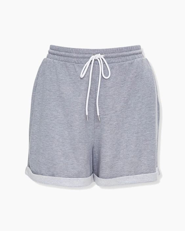 A pair of gray plus-size sweat shorts.