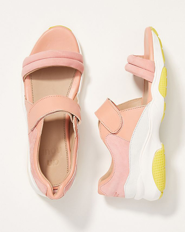 A peach, velcro-strapped sneaker sandal.