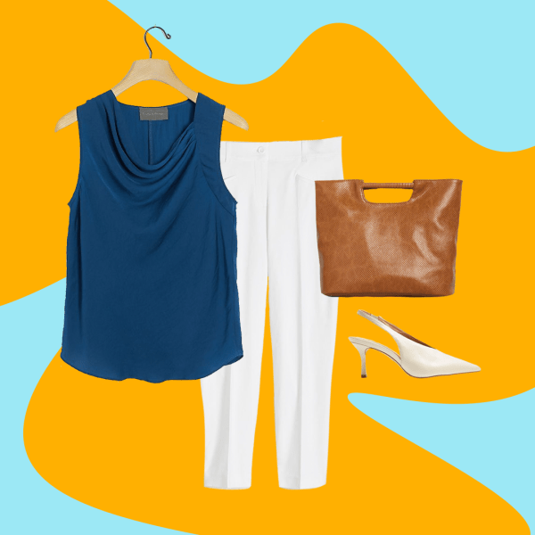 A collage with a blue sleeveless top, white pants, brown bag and white heels.