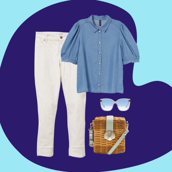 A collage with white jeans, a denim shirt, straw bag, and blue sunglasses.