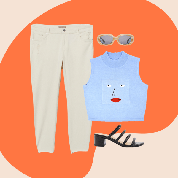 A collage with cream jeans, blue tank sweater, tan sunglasses and black heeled sandals.