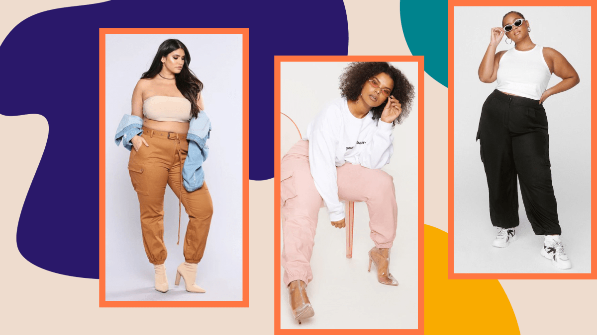 Three models wearing plus-size cargo pants.