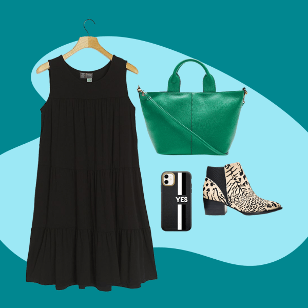 A collage with a black dress, green tote bag, leopard print booties, and a black phone case.