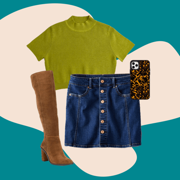 A collage with a plus-size denim skirt, green sweater, brown boots, and a phone case.