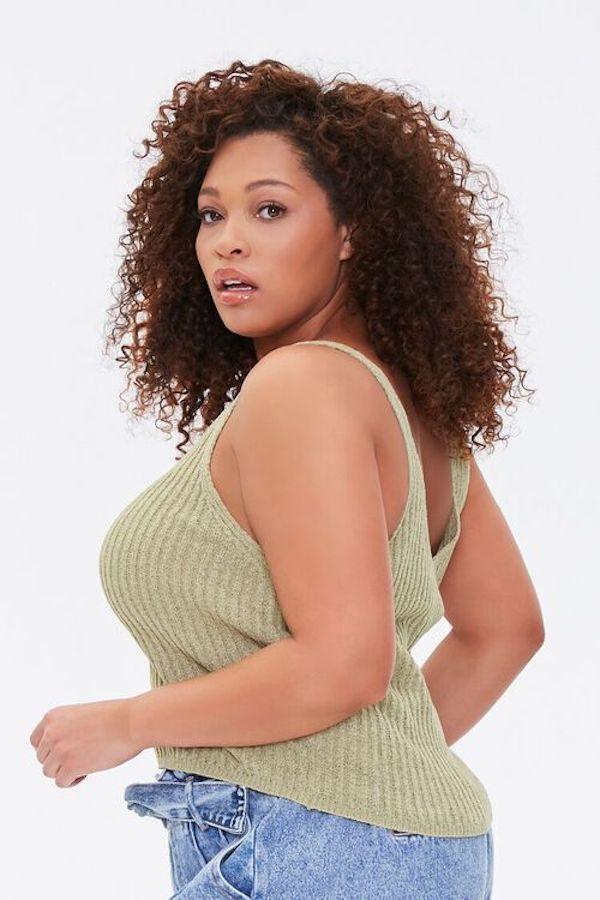 A model wearing a plus-size knit tank.