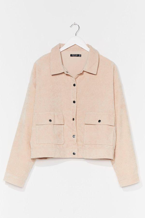 A light pink corduroy jacket.