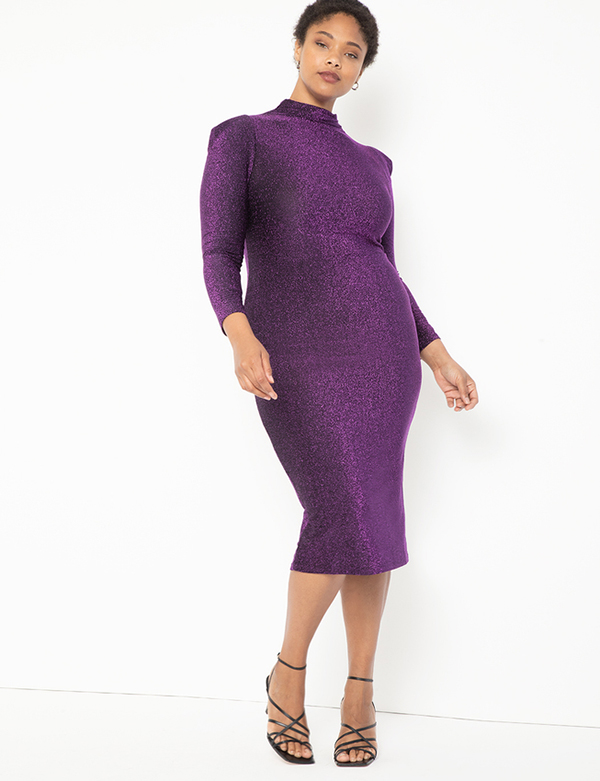 A plus-size model wearing a purple sparkly dress, which is now on sale at Eloquii for less than $39.