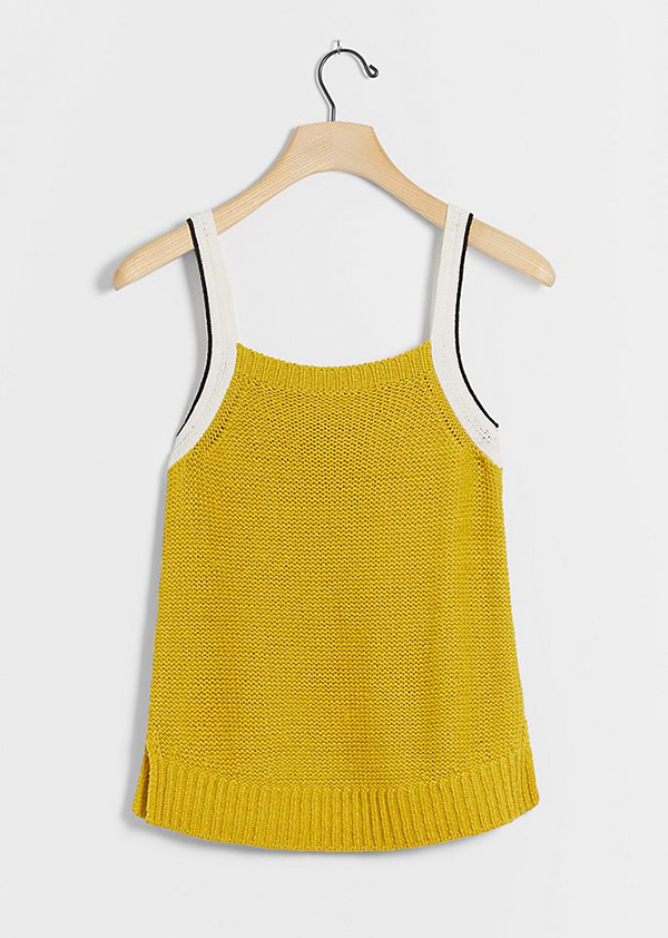 A plus-size chartreuse knit tank.