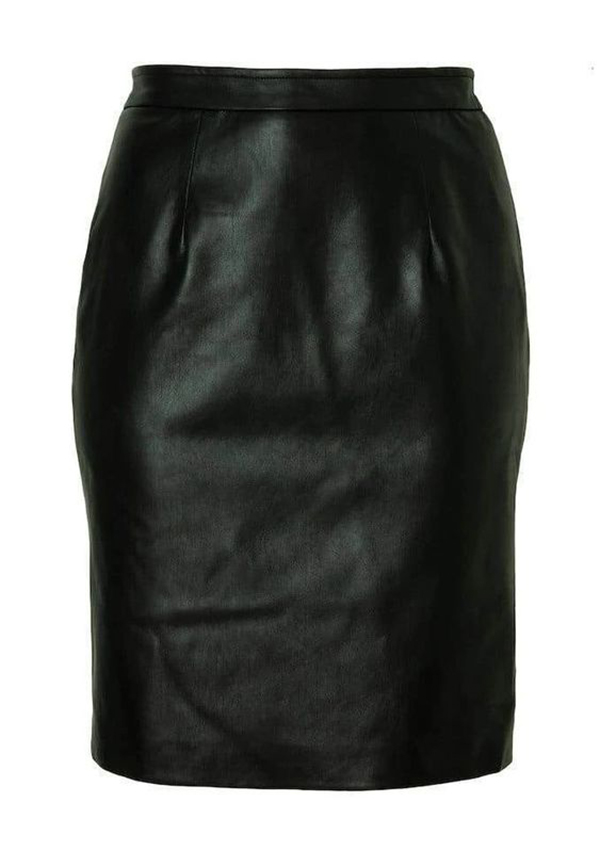 A plus-size leather midi skirt.