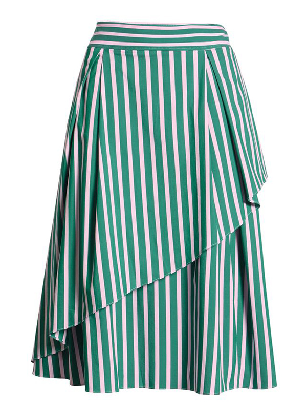 A plus-size green striped midi skirt.