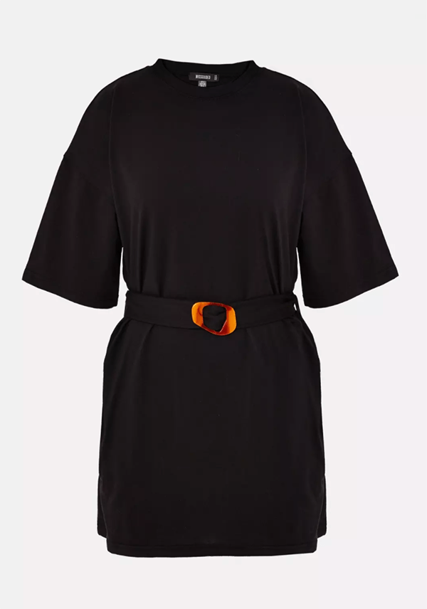 A plus-size black mini dress.
