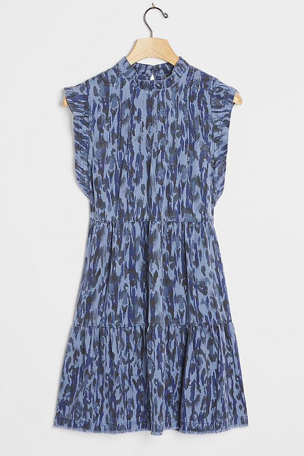 A plus-size blue printed mini dress.