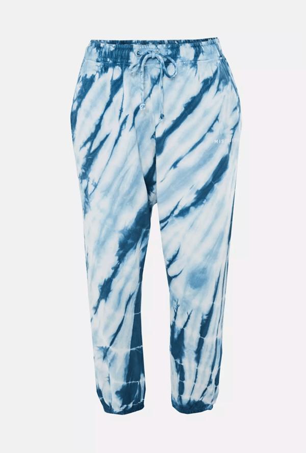 A plus-size blue tie-dye sweatpants.