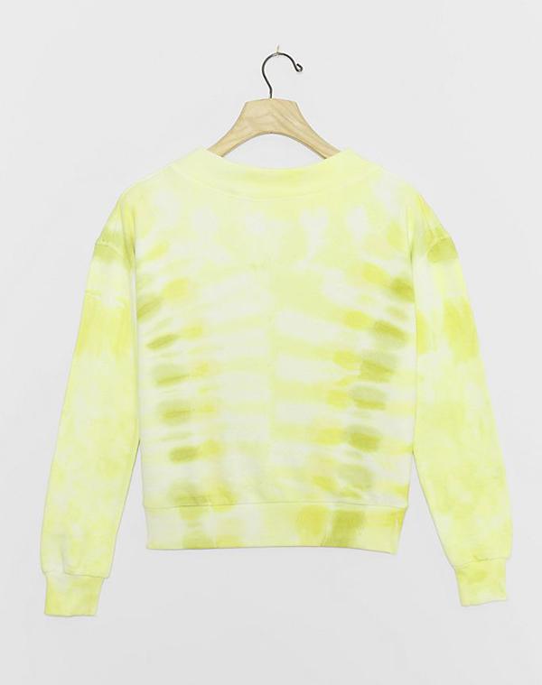 A plus-size yellow tie-dye sweatshirt.