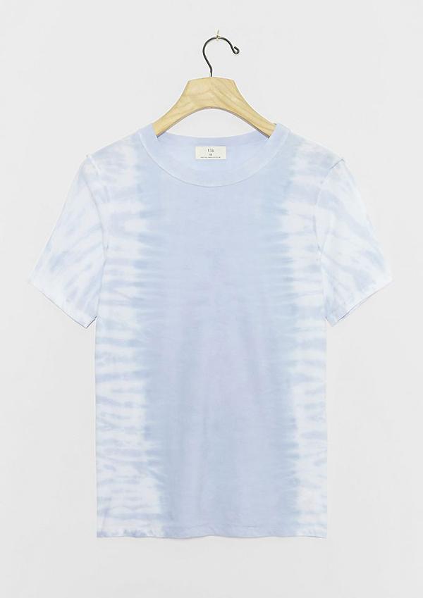 A plus-size blue tie-dye T-shirt.