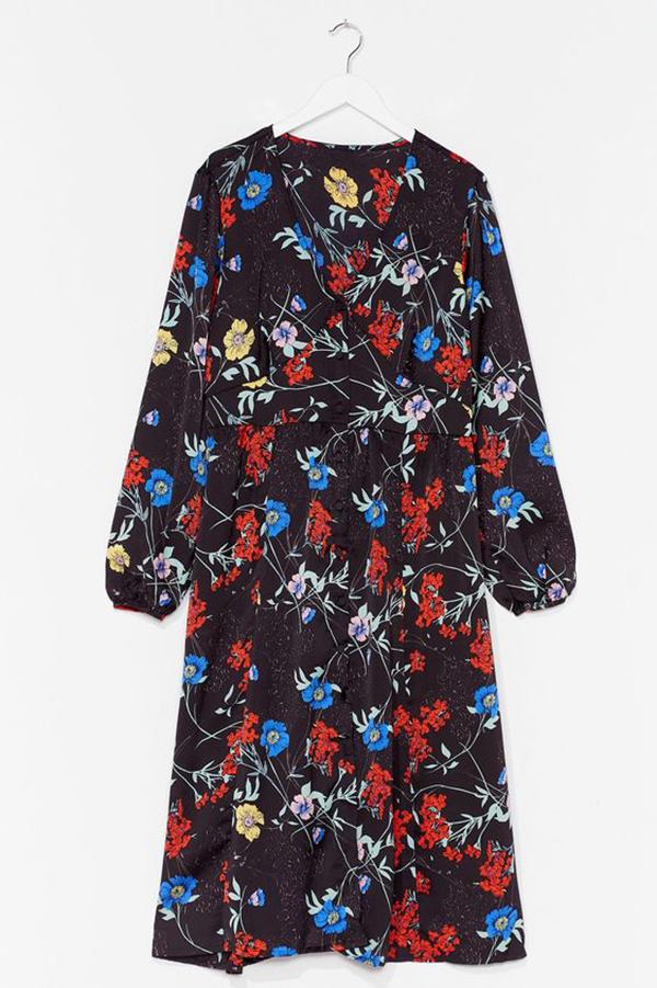 A plus-size floral wrap dress.