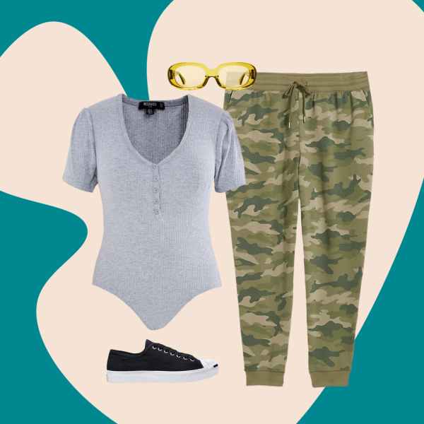 A plus-size outfit collage, featuring a gray bodysuit, a pair of camo sweatpants, a sneaker, and some sunglasses.