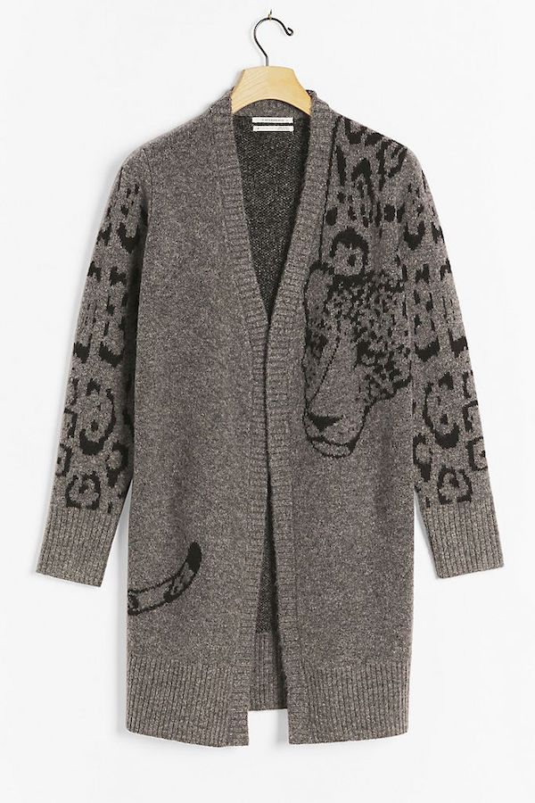 A gray animal print cardigan.