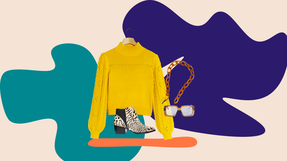 A collage with a mustard sweater, animal print booties, blue light glasses and a glasses chain.