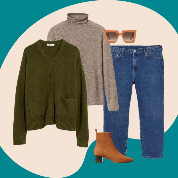 A collage with a dark green cardigan, brown turtleneck, jeans, brown booties, and oversized sunglasses.