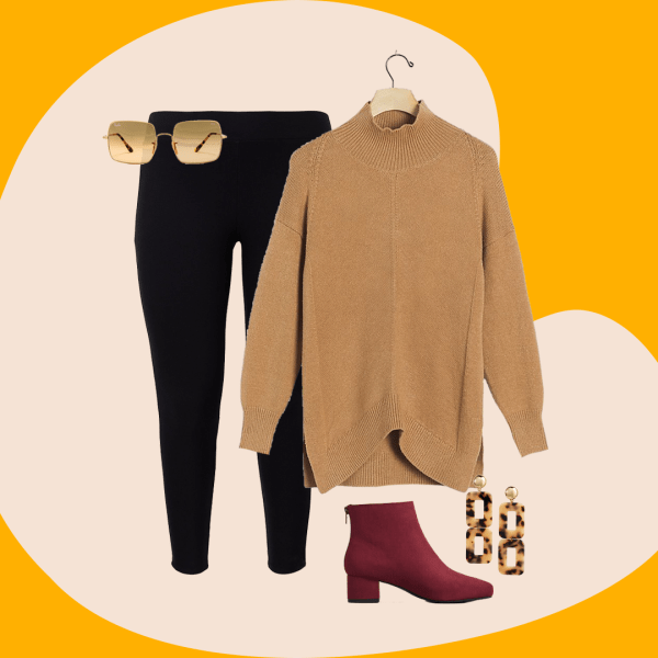 A collage with black leggings, a brown sweater, dark red booties, and tortoise earrings.