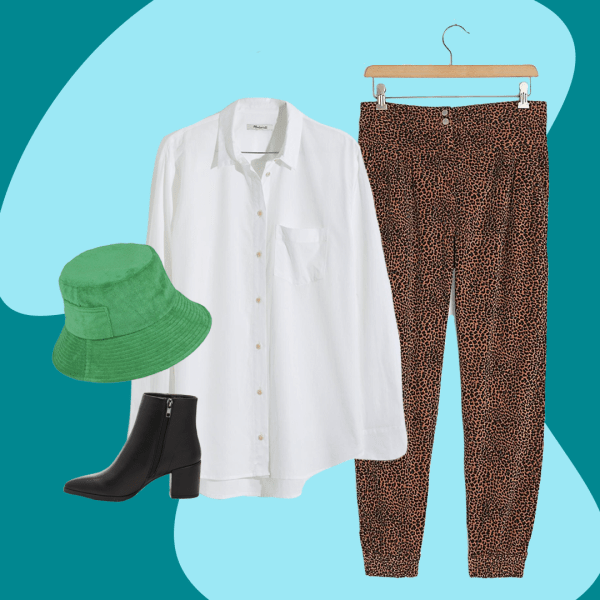 A collage with a green bucket hat, black booties, white blouse, and leopard print pants.