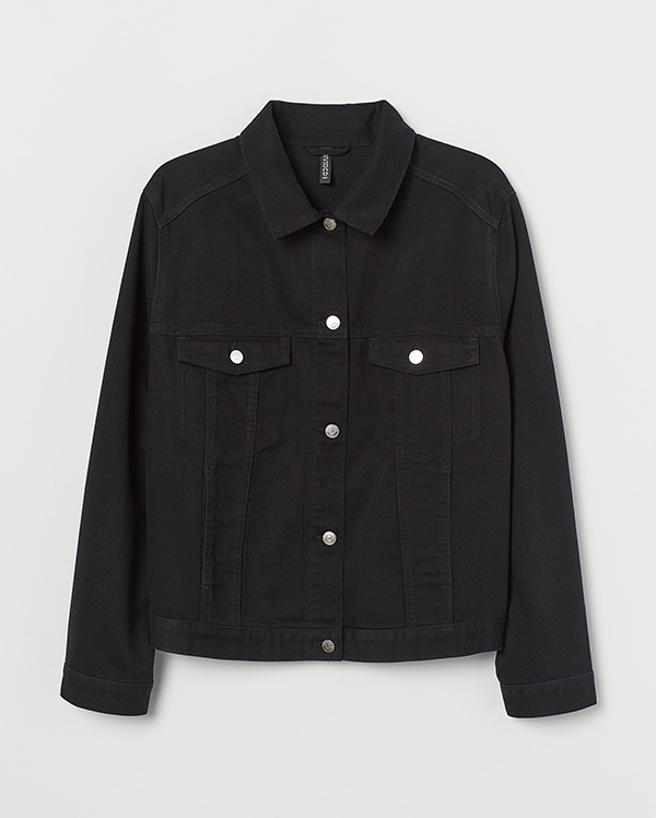 A plus-size black denim jacket.